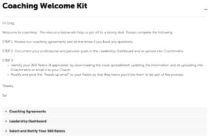 Coachmetrix - Coaching Welcome Kit